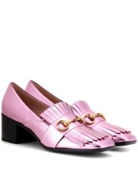 Gucci   Pink Metallic Leather Pumps   Lyst