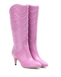 Gucci | Pink Matelassé Leather Boots | Lyst
