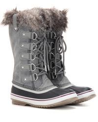 Sorel Gray Joan Of Arctic™ Shearling-trimmed Suede And Rubber Boots