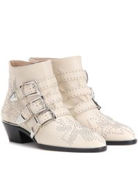 Chloé | Natural Susanna Studded Leather Ankle Boots | Lyst