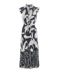 Erdem | Black Roisin Pleated Fil Coupé Dress | Lyst