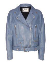 Acne | Blue Mock Leather Jacket | Lyst
