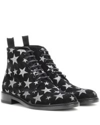 Saint Laurent | Black Lolita 20 Printed Suede Ankle Boots | Lyst