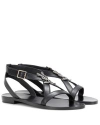 Saint Laurent - Black Nu Pieds 05 Leather Sandals - Lyst