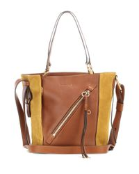 Chloé Brown Myer Small Leather And Suede Tote