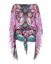 Roberto Cavalli | Multicolor Printed Silk Top | Lyst