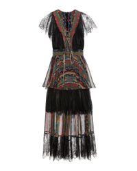 Philosophy Di Lorenzo Serafini | Black Lace And Printed Silk Dress | Lyst