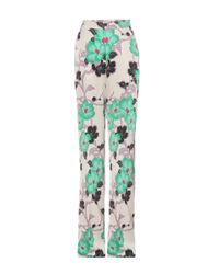 Etro Multicolor Floral-printed Satin Trousers