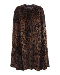 Dolce & Gabbana Brown Leopard-print Fur Cape