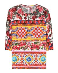 Dolce & Gabbana | Red Printed Silk Top | Lyst