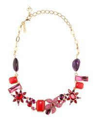 Oscar de la Renta - Red Crystal-embellished Necklace - Lyst