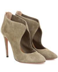 Aquazzura - Green Ella 105 Cut-out Suede Ankle Boots - Lyst