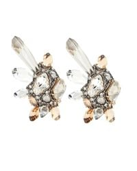Lanvin | Metallic Clip-on Earrings With Glass Crystals | Lyst
