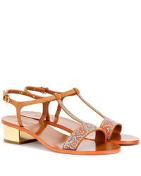 Ferragamo Brown Evia Embellished Suede Sandals