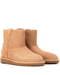 UGG - Brown Classic Unlined Mini Perf Suede Ankle Boots - Lyst