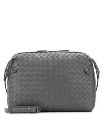 Bottega Veneta Gray Intrecciato Leather Shoulder Bag
