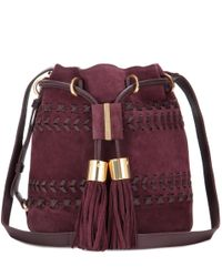 See By Chloé Purple Vicki Small Suede And Leather Bucket Bag
