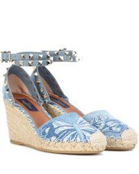 Valentino   Blue Rockstud Platform Wedge Sandals   Lyst