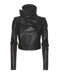 Rick Owens Black Cropped Leather Jacket