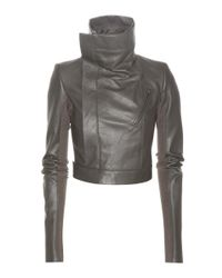 Rick Owens Gray Cropped Leather Jacket