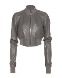 Rick Owens Gray Glitter Flight Leather Cropped Jacket