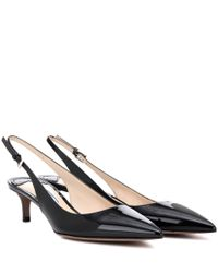 Prada | Blue Patent Leather Slingback Pumps | Lyst