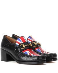 Gucci   Blue Union Jack Horsebit Leather Loafers   Lyst