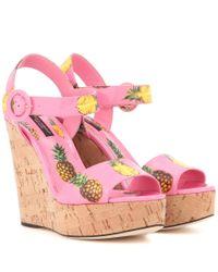 Dolce & Gabbana Pink Printed Wedges