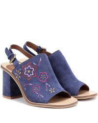 See By Chloé | Blue Embroidered Suede Sling-back Sandals | Lyst