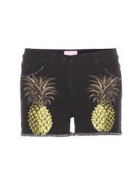 Giamba - Black Printed Denim Shorts - Lyst