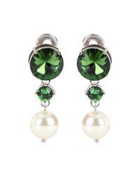 Miu Miu | Green Crystal-embellished Clip-on Earrings | Lyst