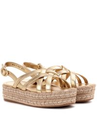 Prada Metallic Leather Espadrille Sandals