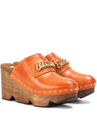 Stella McCartney | Orange Wood And Faux Leather Clogs | Lyst