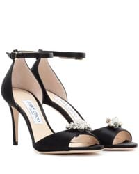 Jimmy Choo | Black Tori 85 Satin Sandals With Crystal-embellished Clips | Lyst