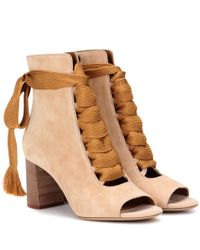 Chloé Natural Harper Peep-toe Ankle Boots