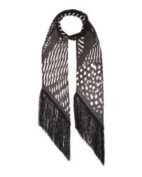Rockins Black Guinea Blow Up Classic Skinny Printed Silk Scarf