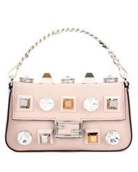 Fendi | Pink Micro Baguette Leather Shoulder Bag | Lyst