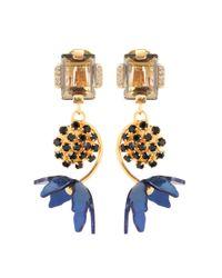 Marni Metallic Floral Horn Clip-on Earrings