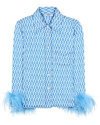 Prada Blue Cotton Shirt With Feather Trim