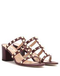 Valentino | Red Garavani Rockstud Leather Sandals | Lyst