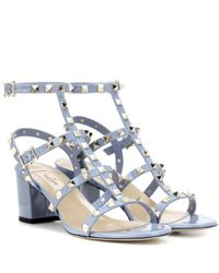 Valentino   Blue Garavani Rockstud Leather Sandals   Lyst