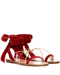 Valentino Red Valentino Garavani Velvet And Leather Sandals