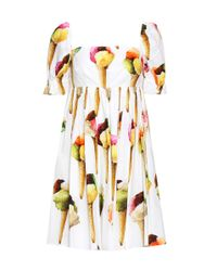 Dolce & Gabbana White Printed Cotton Dress