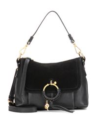 See By Chloé Black Joan Small Leather And Suede Crossbody Bag