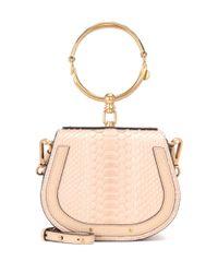 Chloé Natural Small Nile Snakeskin Leather Bracelet Bag