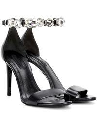 Alexander Wang - Black Brynn Crystal-embellished Leather Sandals - Lyst