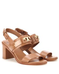 Tory Burch | Brown Gigi 65 Two Band Leather Sandals | Lyst