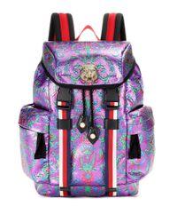 Gucci Blue Brocade Backpack