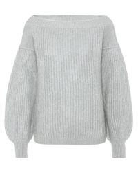 Valentino Gray Mohair-blend Off-the-shoulder Sweater