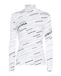 Jersey de cuello alto con logo Balenciaga de color White